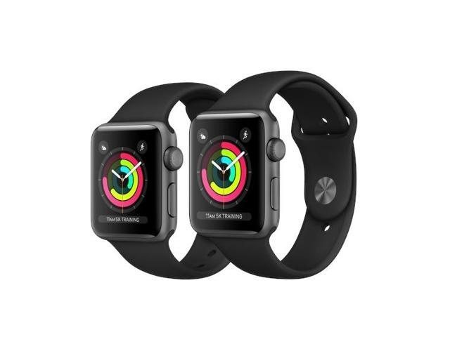 wholesale dealer 96b36 7ce89 Refurbished: Apple Watch Series 3 GPS 42mm with Black Sport Band Space Gray  - Newegg.com
