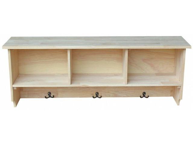 Js International Concepts Wall Shelf Storage Unfinished Wood Coat Rack Entryway Newegg