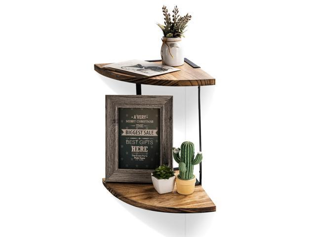 Fabulous Js Arc Bookshelf 2 Tier Wood Storage Shelf Industrial Wall Shelves Wall Mounted Newegg Com Home Interior And Landscaping Elinuenasavecom