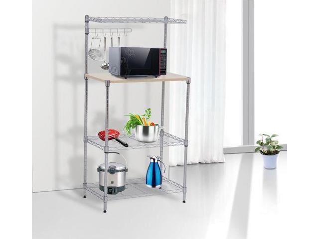 47\'\' 4-Tier Bakers Rack Kitchen Cart Microwave Stand Cutting Board  Workstation