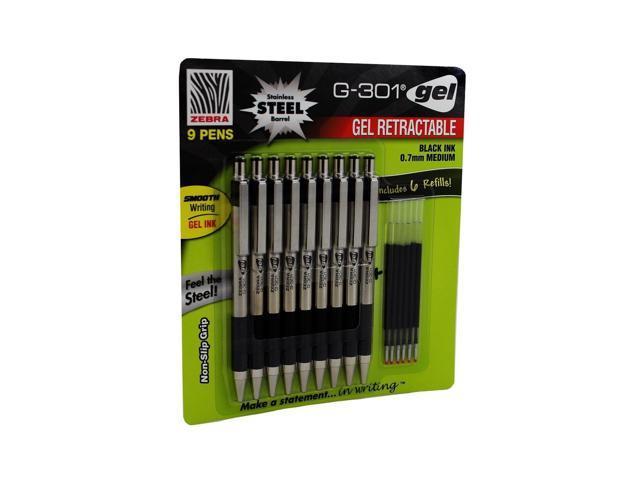 Zebra G-301 Gel Stainless Steel 9 Pack w// 6 Refill Cartridges