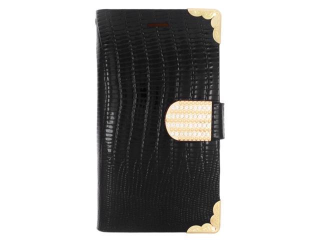 meet bdd79 2c057 Samsung Galaxy Avant G386t - Wallet Case Card Holder Crocodile Skin Black -  Newegg.com