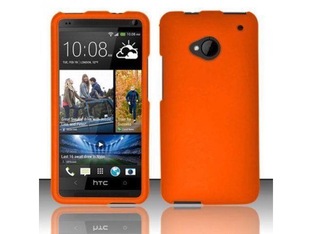 watch c9178 e59b6 Hard Rubberized Case for HTC One M7 - Orange - Newegg.com