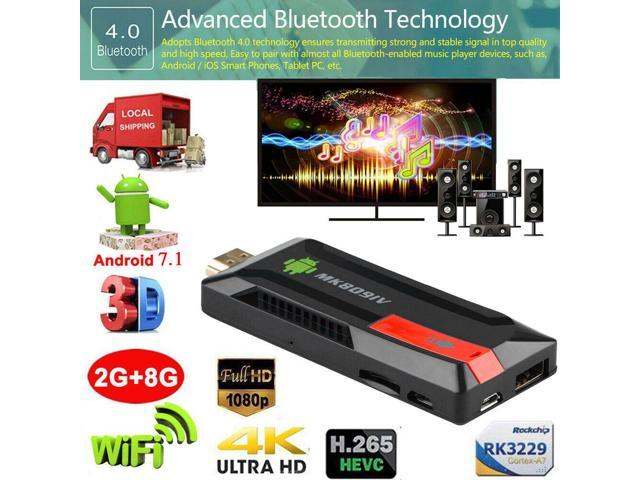 MK809 IV Android 7 1 TV Dongle Quad Core 2GB/8GB UHD 4K Mini Smart Media  Player - Newegg com