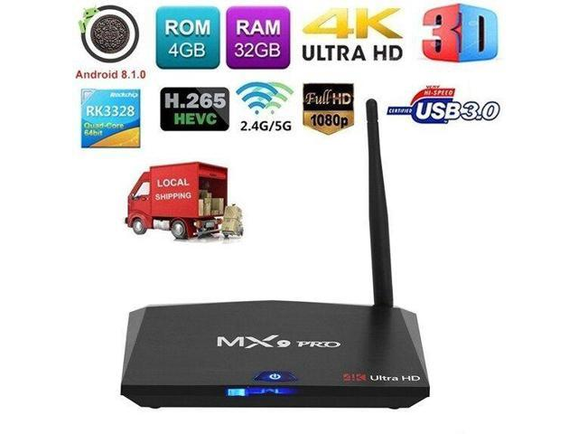 MX9 Pro 4/32G Android 8 1 Smart TV BOX RK3328 Quad Core H 265 WiFi 4K Media  E3R9 - Newegg com