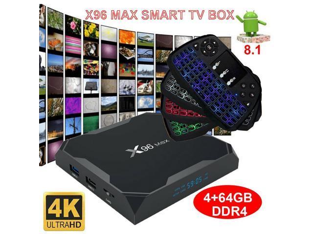 X96 MAX TV Box 4K Media Player Android 8 1 4-Core 64GB WiFi 4K HD+Keyboard  M7G1 - Newegg com