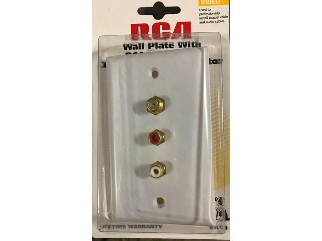RCA VH69 Video Standard Wall Plate With RCA Jacks and Coaxial Cable Connector