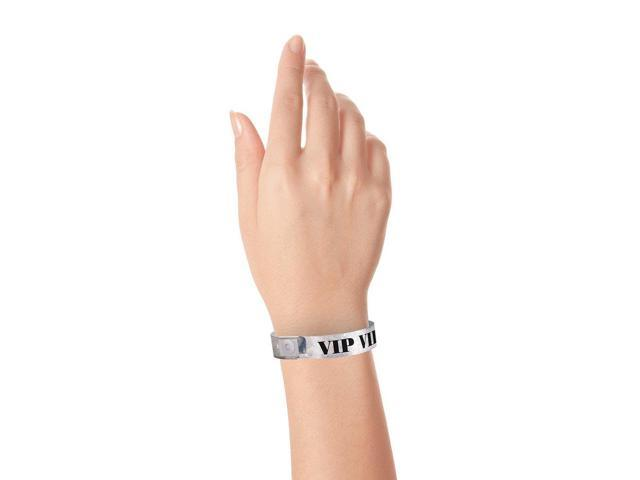100 Pack Wristbands for E... WristCo Holographic Silver VIP Plastic Wristbands