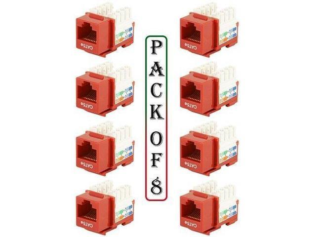 8x RJ45 Cat5e Network Insert Keystone Jack Wall Plate Punch Down 110 Snap-In Red