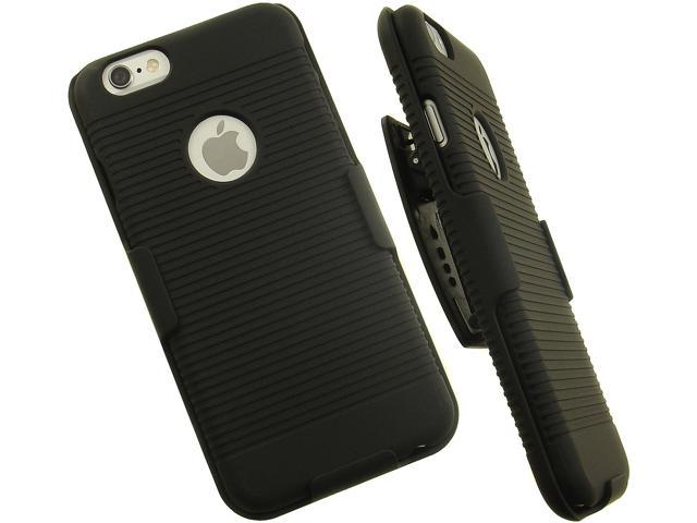 cheaper e98ea 5e5a2 BLACK RIBBED HARD SHELL CASE + BELT CLIP HOLSTER HOLDER FOR APPLE iPHONE 6  6s - Newegg.com