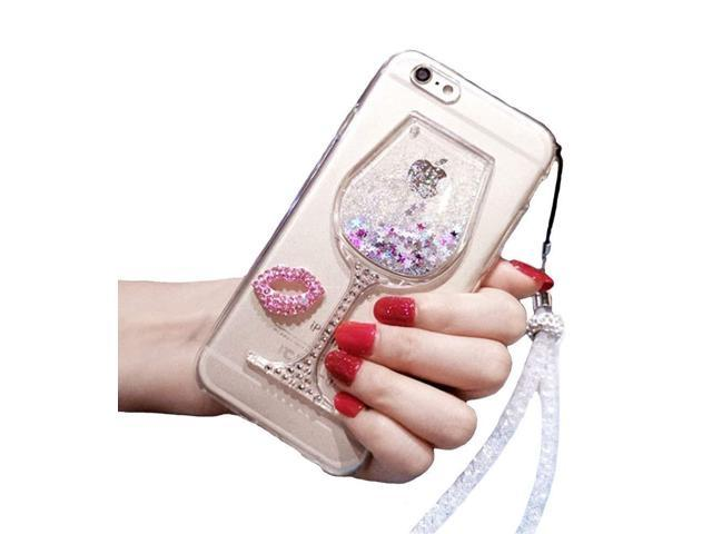 4cb6bee5a3 Black Lemon iPhone 6 Plus Liquid Case, 6s Plus Case, Goblet Wine Glass  Liquid Quicksand Flowing Floating Bling Glitter Sexy Makeup Case for Girls  with Wrist ...