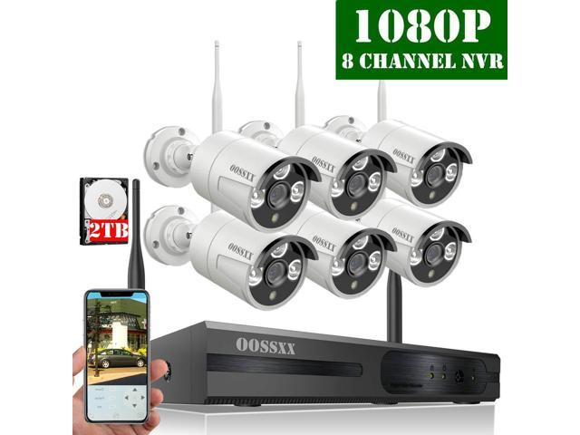 ?2019 Update? HD 1080P 8-Channel OOSSXX Wireless Security Camera  System,6Pcs 1080P(2 0 Megapixel) Wireless Indoor/Outdoor IR Bullet IP