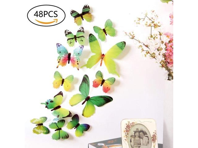 48 PCS Removable 3D Butterfly Wall Stickers Decals DIY Wall art Decor Home  Wall Decoration Sticker Mural for Kids Girls Children Bedroom Living Room  ...