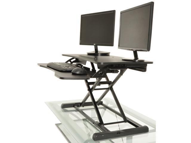 Brown Desktop Tabletop Standing Desk Adjustable Height Sit to Stand Work 3 Types