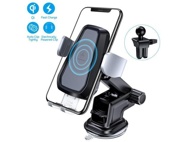 10W Fast//Standard Charging Compatible with iPhone X//8//8 Plus Galaxy S9 S8 Plus S7//S7 Edge Note 8 5 /& Qi-Enabled Device Wiiki-tech International 4352724796 Shield Design Qi Wireless Charger Car Mount Sturdy Adjustable Air Vent Mount