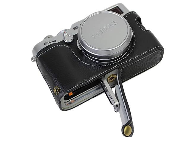 Bottom Opening Version Protective Real Leather Half Camera Case Bag for  Fuji Fujifilm x100f with Hand Strap Black - Newegg com