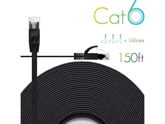 Cat 6 CAT6 Ethernet Cable Cord 150 ft White internet Network Cable High Speed US