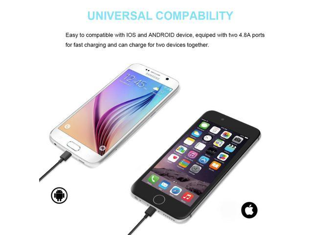 Car Charger Bluetooth Headset Two-in-one Car Charger with Smart Double USB Port 4.8A//24W Smart Touch Bluetooth Headset for iPhone//Android
