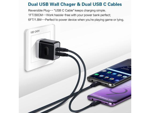 iSeekerKit Dual Port Wall Charger Portable Travel Adapter Fast Block 6ft//1ft USB C Charger Cable Compatible Samsung Galaxy S9//S8 Plus//Google Pixel XL//Moto 2pack USB Wall Charger 3.0A