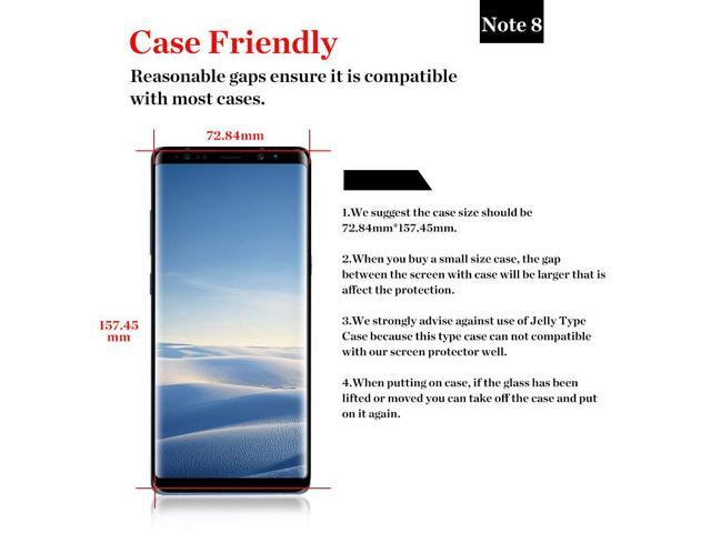 Samsung Galaxy Note 8 Screen Protector, Bersem Tempered Glass Anti-Scratch,  Bubble Free and Case Friendly, 3D Curved Edge,[ Full Coverage and Wider