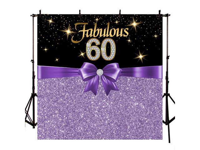 Mehofoto 8x8ft Fabulous 60th Birthday Backdrop Black Purple Birthday Party  Backdrops Glitter Diamonds 60th Birthday Photo Booth Background Party