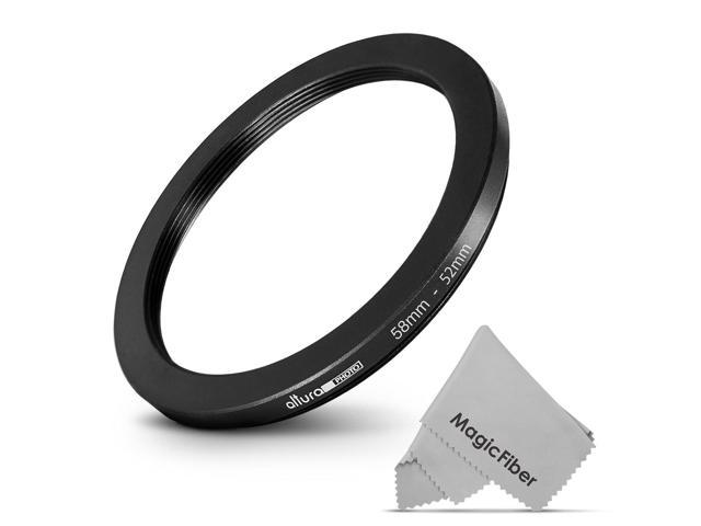 Altura Photo 58-52MM Step-Down Ring Adapter Premium MagicFiber Lens Cleaning Cloth 58MM Lens to 52MM Filter or Accessory
