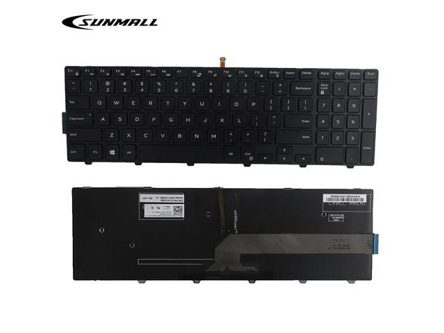 SUNMALL New Laptop Notebook Replacement Keyboard with Backlit Compatible  with Dell Inspiron 15 3000 3541 3542 3552 5000 5547 Black US Layout(6  Months