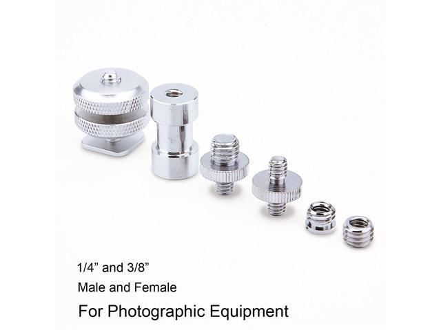 Hyx 3 in 1 Flash Light Bracket Screw Thread Adapter Kits Camera Accessories 1//4 inch Male to 1//4 inch Male + 1//4 inch Female to 3//8 inch Male + 3//8 inch Female to 1//4 inch Female