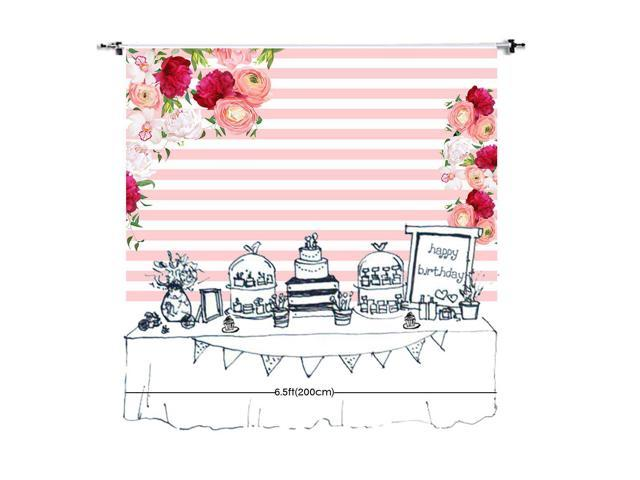 HD 7x5ft Flower Backdrop Pink and White Stripes Photography Background Baby Shower Sweet Sixteen Cotton Backdrop Photo Studio Props HXEA106