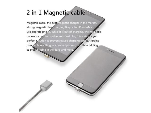 3.3 Feet 3 Pack Silver NetDot 3rd Generation USB2.0 Magnetic Charging Cable Adapter with 1 iOS Connector and 1 Micro-USB Connector Compatible with Both Android Smartphone and iPhone
