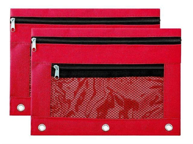 Red,2 Pack Binder Pencil Pouch Zipper with 3 Ring and Double Pocket and Mesh Window