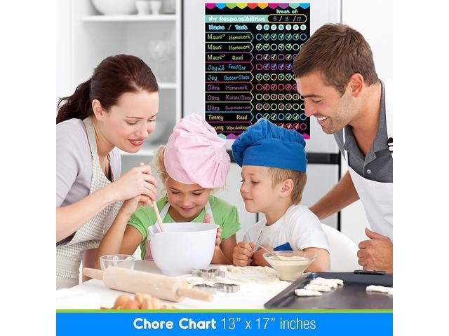 Best EXTRA LARGE 13 x 17-inch Dry Erase or Wet Erase Laminated Kids Magnetic Chore Responsibility Chart Planner /& Organizer To Do/'s Perfect for Refrigerators Keep Track of Kids Chores Tasks