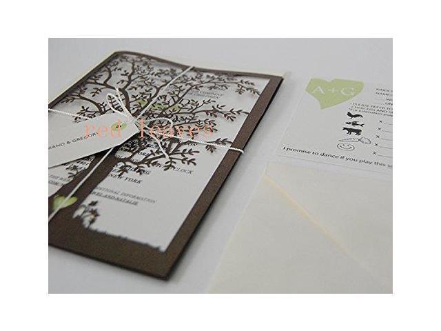 Tree Shape Design Wedding Invitation Card Kit Green With
