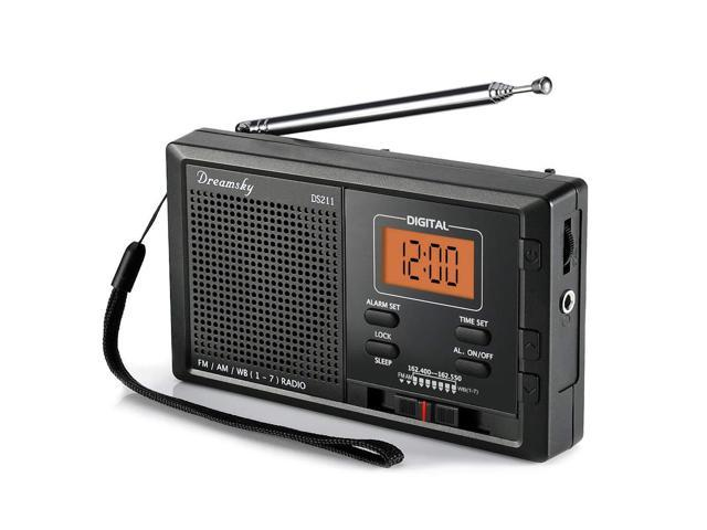 DreamSky Portable AM FM NOAA Weather Radio Alarm Clock, 12 /24H Time  Display Backlight, Sleep Timer, Ascending Alarms, Built in Loud Speaker,  Battery