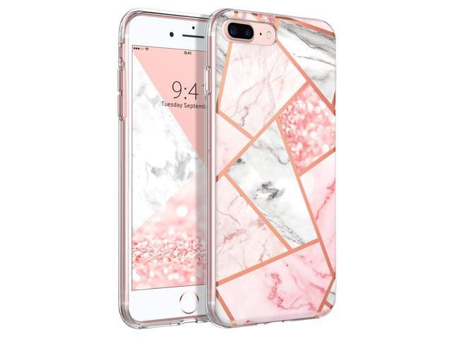 BENTOBEN iPhone 7 Plus Case, iPhone 8 Plus Case, Marble Glitter Design  Clear TPU Bumper Slim Fit Shockproof Hard Back Girls Women Protective Phone