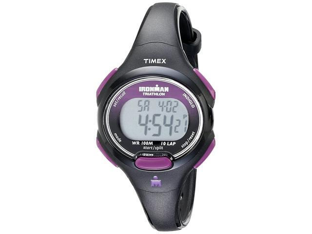 Timex Womens T5K523 Ironman Essential 10 Mid-Size Black/Purple Resin Strap Watch