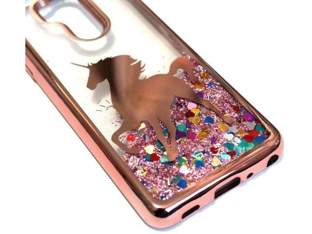 For LG G7 ThinQ (G710) - Rose Gold Unicorn Case Pink Glitter Hearts Liquid  Cover - Newegg com