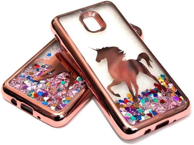 For Samsung Galaxy J3 ORBIT - Rose Gold Unicorn Glitter Heart Liquid Case  Cover - Newegg com