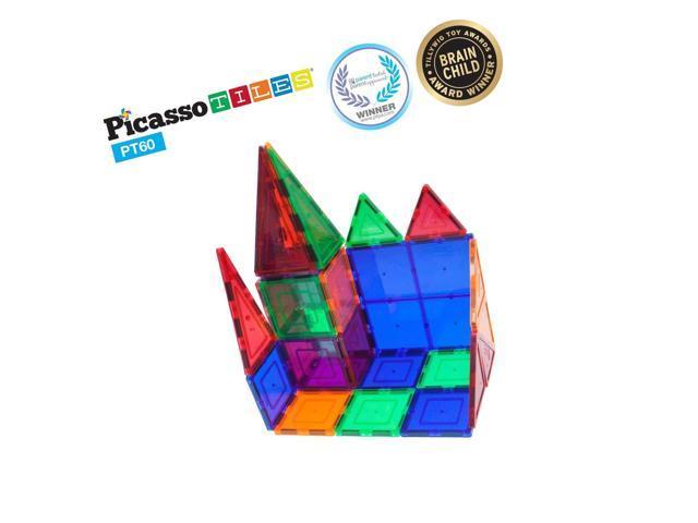 PicassoTiles 60 Piece Set 60pcs Magnet Building Tiles Clear Magnetic 3D Building