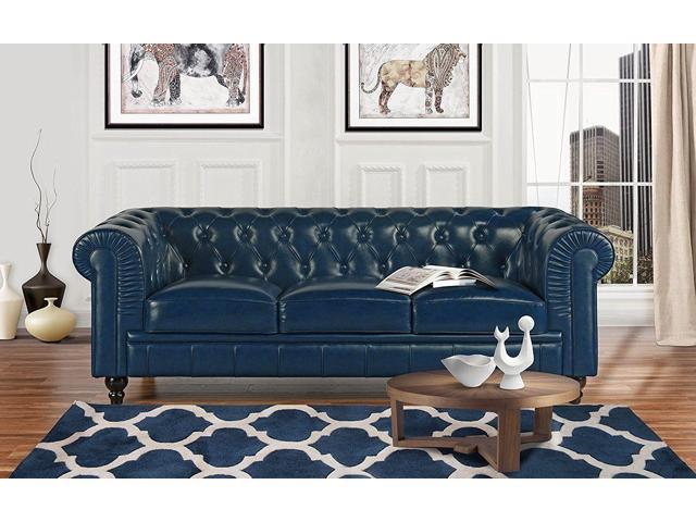 Classic Scroll Arm Real Leather Chesterfield Sofa (Blue) - Newegg.com