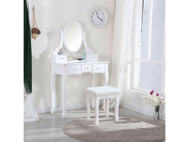 . White Vanity Dressing Table Set With Mirror Stool 5 Drawers Makeup Desk  Bedroom   Newegg com