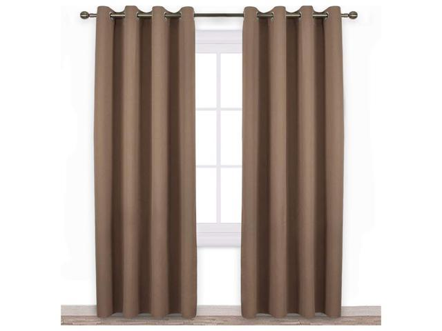 Set 2 Panels Blackout Curtains Grommet Draperies Thermal Insulated for Bedroom