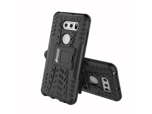 AMZER Dual Layer Hybrid Warrior Case with Stand for LG V30 Plus V35 ThinQ  -Black - Newegg com