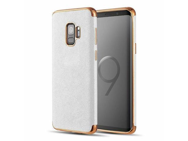 For Samsung Galaxy S9 White Gold Saffiano Luxury Leather TPU Hybrid Fabric  Case - Newegg com