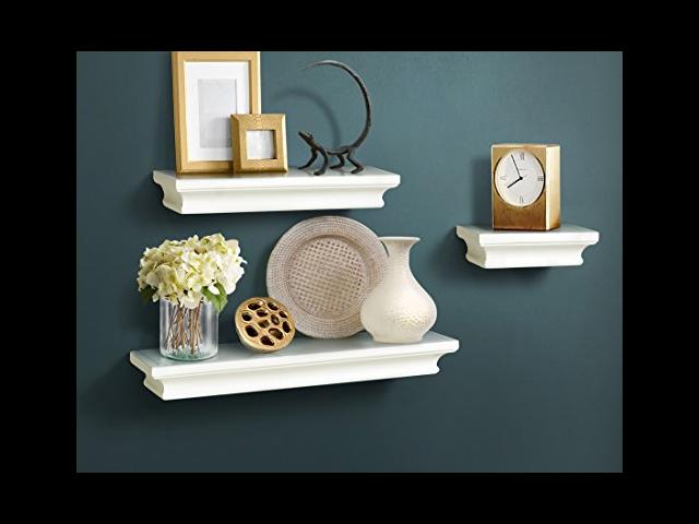 Magnificent Js Ahdecor White Floating Shelves Ledge Wall Shelf For Home Decor With 4 Deep Of Newegg Com Interior Design Ideas Gentotryabchikinfo
