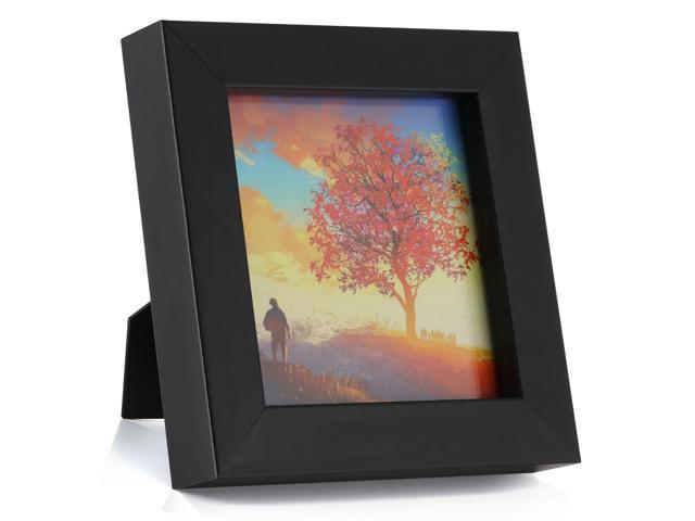 One Wall 1pcs 4x4 Black Picture Frame Clear Glass Well Packed