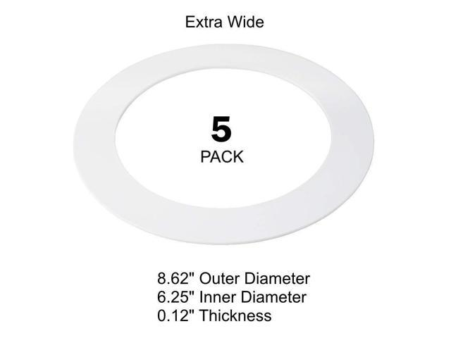 5 pack white plastic trim ring for 8 u0026quot  inch recessed can