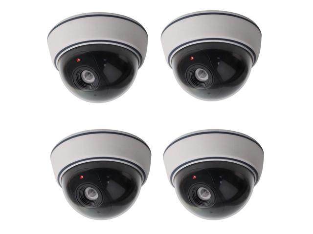 4 Black Dummy Fake Security CCTV Dome Surveillance Camera Flashing Red LED Light