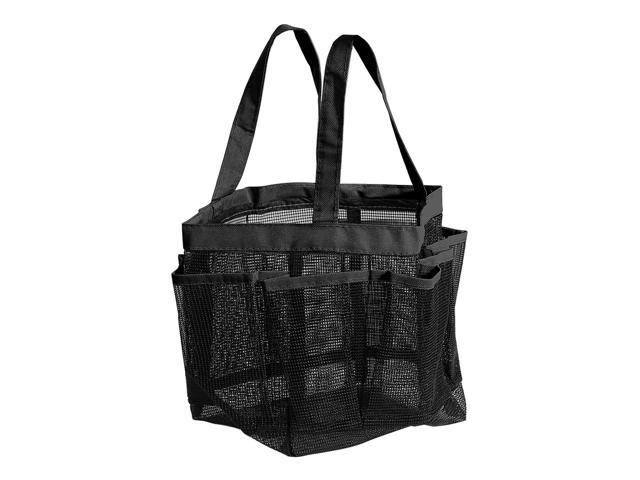 Quick Dry Shower Tote Bag With 2 Oxford Handles Toiletry And Bath Organizer 8 Storage Compartments For College Dorm Gym Swimming Black