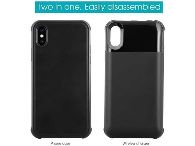 Mbuynow Wireless Battery Case for iPhone X//XS Black 5000mAH Portable Qi Wireless Charging Case 2 in1 Magnetic External Rechargeable Charger Case Protective Power Case for iPhone X//XS